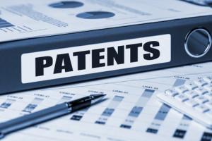 patents concept on document folder